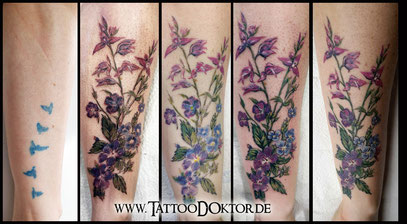 Cover Up Tattoo Blumen zart TattooRitual Lübeck
