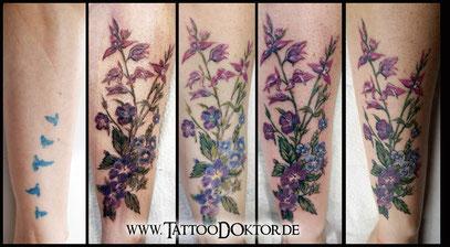 Cover Up Tattoo Blumen zart TattooRitual Lübeck