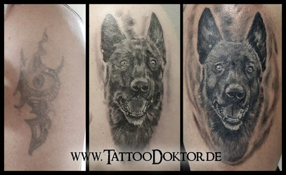 Cover Up Tattoo Hund Portrait TattooRitual Lübeck Rostock