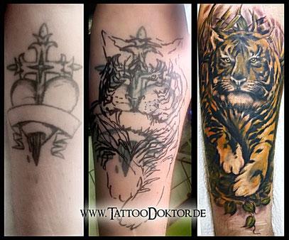Tattoo Cover UP Tiger  TattooRitual dein TattooDoktor Rostock Lübeck