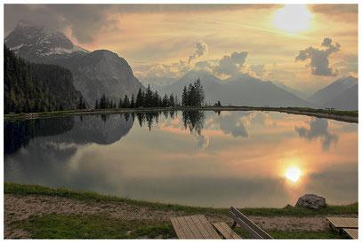 künstlich angelegter Teich auf der Ehrwalder Alm