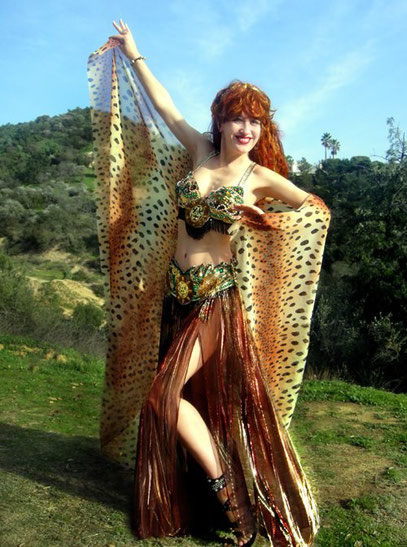 Sofia Metal Queen - modeling photoshoot from the Gold Leopard Queen series- Ameynra bellydance fashion