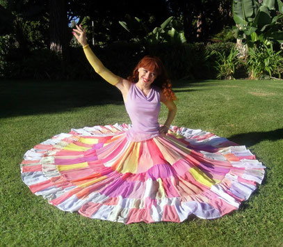 Sofia as Gypsy Ameynra. Double circle skirt in traditional style. Main idea of this collection: true fresheness, womanly beauty & taste of happy life