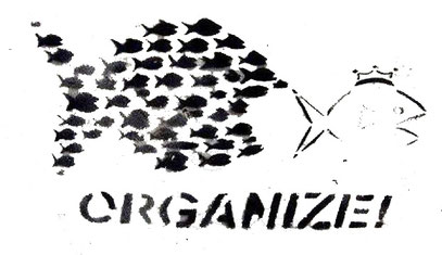 Libertarian graffiti graphic for decorative purpose only. With the word 'Organize'