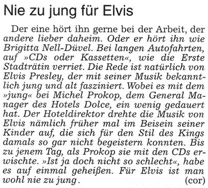 Bad Nauheim: Nie zu jung für Elvis, WZ 22.08.2015, Text: Corinna Weigelt