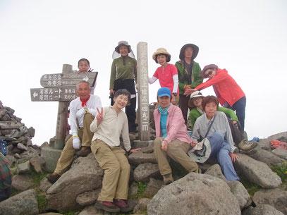暑寒別岳山頂(1,941m)にて、全員登頂をはたす