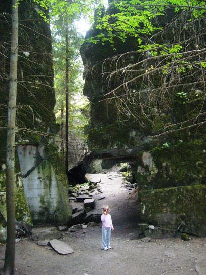 Milena ist gut als Größenvergleich zu den gewaltigen Betonmassen der früheren Bunker, die überall in dem dichtbewaldeten Gelände vorhanden sind.