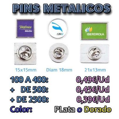 pins personalizados, pins cuadrados, pins redondos, pins rectangulares