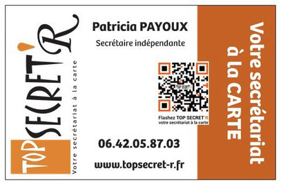 Carte de visite TOP SECRET'R - Secrétaire à la Carte