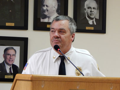 FFD Asst Chief Zawodniak making safety comments at the October Town Council Meeting. (photo and text: Tom Kranz)