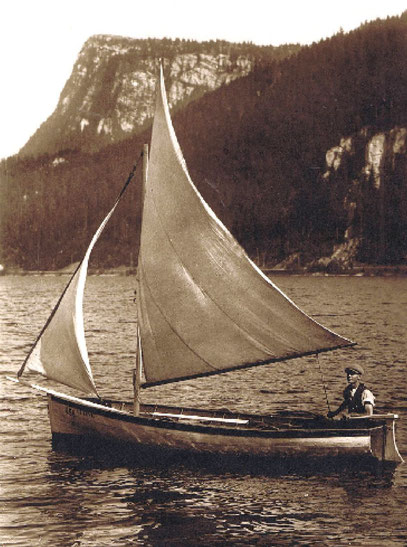 """Lac Brenet"". The boat ""Le Rêve"" (""The Dream""), which belonged to Edgar Rochat from Charbonniere. As a worthy admirer of Alain Gerbault he was a fisherman and captain"