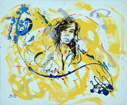SURGIO DEL AMARILLO Y BLANCO, acrylique sur toile, 100 x 120 cm, 2001
