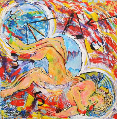 OLVIDO DEL TIEMPO, acrylique sur toile, 100 x 100 cm, 2012