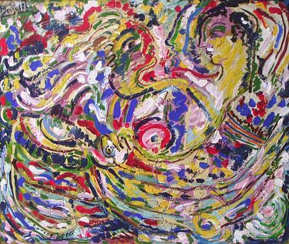 COUPLE, acrylique sur bois, 120 x 100 cm, 1992