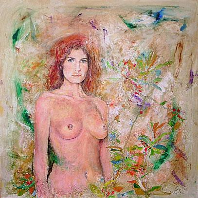 DESMAYA EN LA ARENA, acrylique sur toile, 100 x 100 cm, 2006