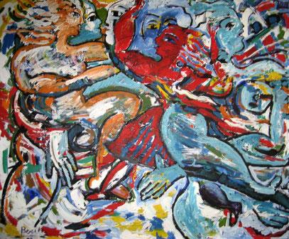 LA FIESTA, acrylique sur toile, 150 x 130 cm, 1994