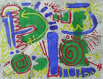 SIEMPRE, encre acrylic sur papier 100 x 70 cm, 1996