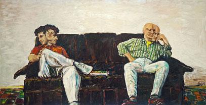 AUTOPORTRAIT AVEC SANTIAGO, huile sur toile, 160 x 100 cm, 1981
