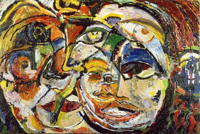 LE VOYAGEUR, huile sur toile, 100 x 70 cm, 1987
