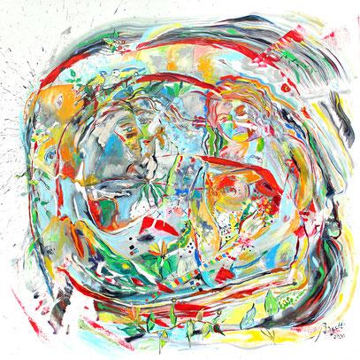 PRINTEMPS, acrylique sur toile, 100 x 100 cm, 2020