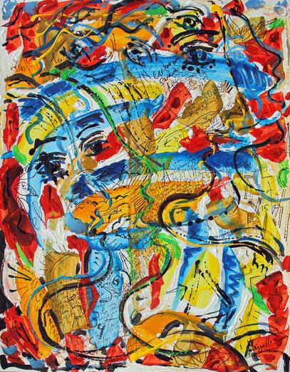 SOIRÉE DE FÊTE À LALANDUSSE, acrylique et encre sur carton, 50 x 65 cm, 2021