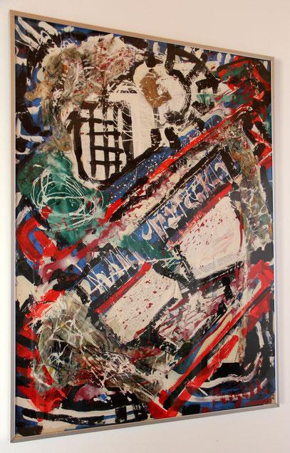 SOLO EL JUEVO, collage 100 x 75 cm, 1990