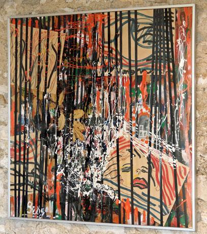 EL SONIDO DE LAS HOJAS, acrylique sur toile, 100 x 100 cm, 1990