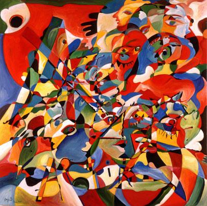 SORTILÈGE, huile sur toile,100 x 100 cm, 1995