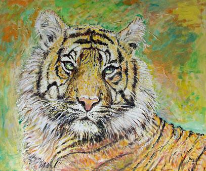 TIGRE DU BENGALE, acrylique sur toile, 120 x 100 cm, 2020