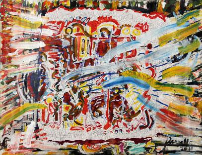CÉLÉBRATION, technique mixte, 90 x 70 cm, 2011