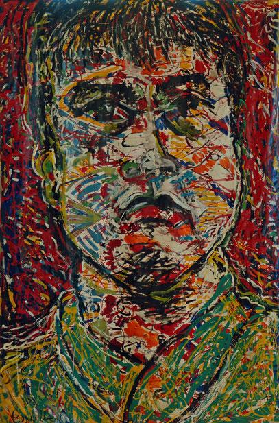 GUUS HIDDINK - L'ENTRAÎNEUR DE FOOTBALL, acrylique sur toile, 3.5 m x 4.2 m, 1998