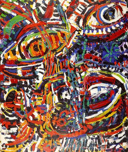 AFRICAN, acrylique sur toile, 120 x 100 cm, 1985