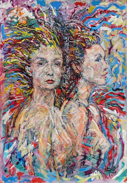 SIRÈNES, acrylique sur toile, 70 x 100 cm, 2012