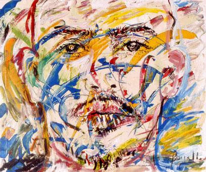 ROSTRO DE HOMBRE 1, acrylique sur toile, 100 x 120 cm, 2000
