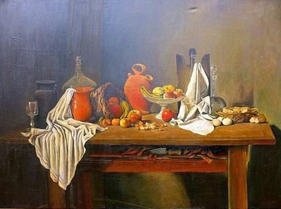NATURALEZA MUERTA, huile sur toile, 160 x 130 cm, 1965 - Collection Bronsgeest - Pays-Bas