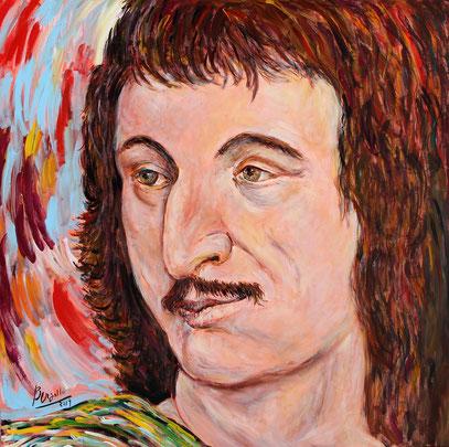 Cyrano de Bergerac, acrylique sur toile, 100 x 100 cm, 2019