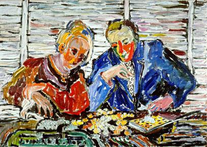 LES COMPTEURS D'ARGENT, acrylique sur toile, 100 x 70 cm, 1984