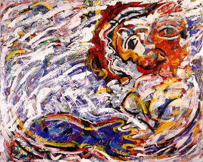 CARACOLES BLANCOS, acrylique sur toile, 120 x 100 cm, 1989