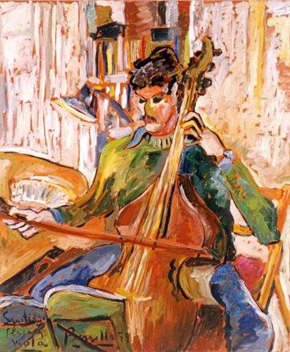 SANTIAGO PLAYING VIOLA, huile sur toile, 120 x 100 cm, 1979