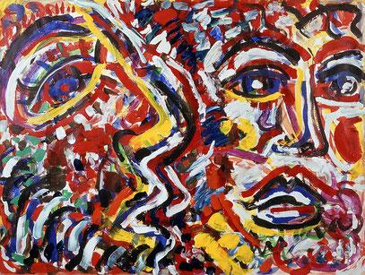 LE SOUFFLE DE LA VOIX, acrylique sur toile, 100 x 70 cm, 1984