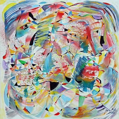 VIVIR, acrylique sur toile, 80 x 80 cm, 2020