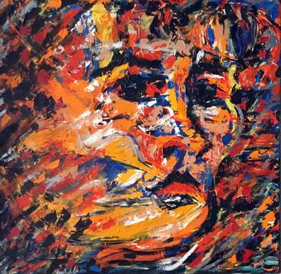 PORTRAIT DE JEUNE HOMME, acrylique sur toile, 100 x 100 cm, 2001