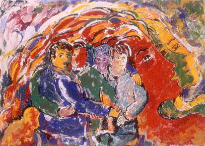 LOS AMIGOS, acrylique sur papier, 70 x 100 cm, 1997
