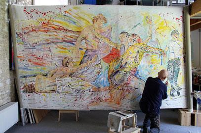 LA DANSE,  acrylique sur toile, 10m x 2m15 - Partie gauche, 2020