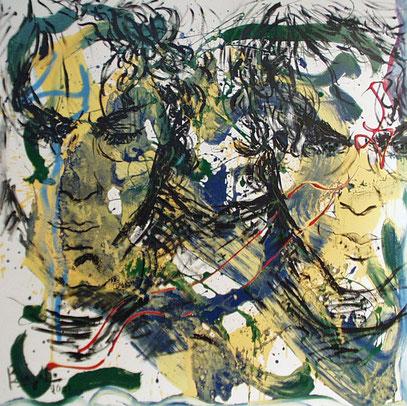 RECUERDO DE UN ROSTRO, acrylique sur toile, 100 x 100 cm, 2001