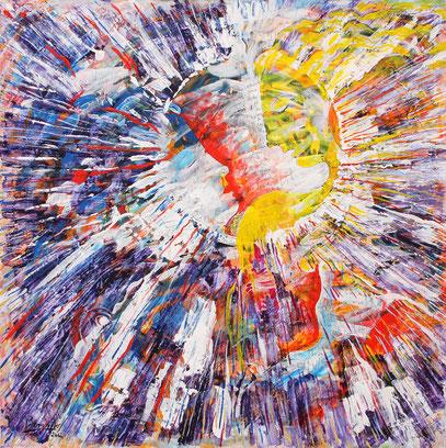 COMMENZAR PAR UN SI, acrylique sur toile, 100 x 100 cm, 2012