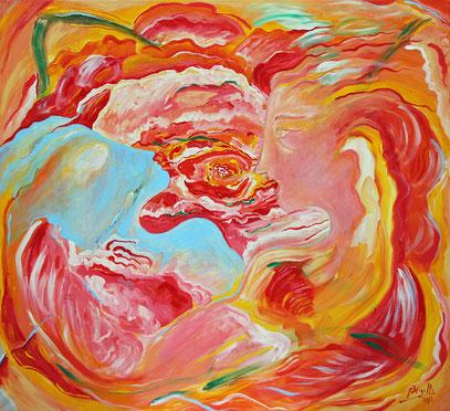 ORFEO Y LA ROSA, acrylique sur toile, 120 x 110 cm, 2012