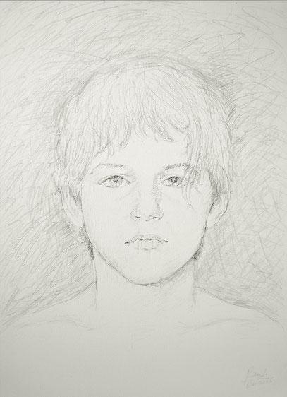 ADOLESCENT, encre et crayon sur toile, 80 x 60 cm, 2006