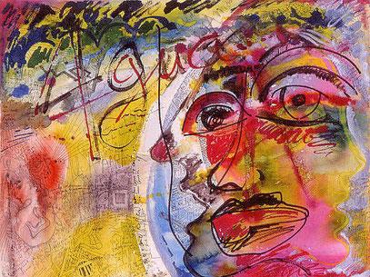 L'ATTAQUE, acrylique sur toile, 100 x 120 cm, 1990