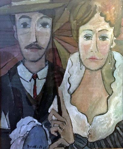 LA SOMBRILLAS, huile sur carton, 40 x 50 cm, 1965